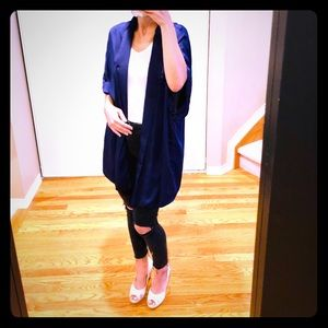 Navy Satin Cardigan by Forever 21